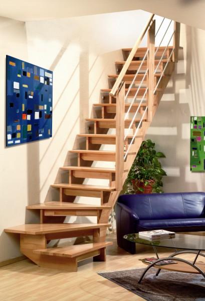 Beuken houten keepbomen trappen bouwpakket trappen houten en stalen trappen - Moderne trap kwartslag ...