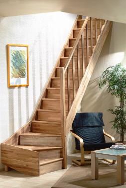 Tradi eco trappen in eiken hout vuren hout en beuken hout - Moderne trap kwartslag ...
